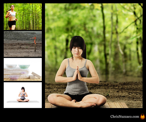 Composite Photo: Asian Woman Meditating in Forest