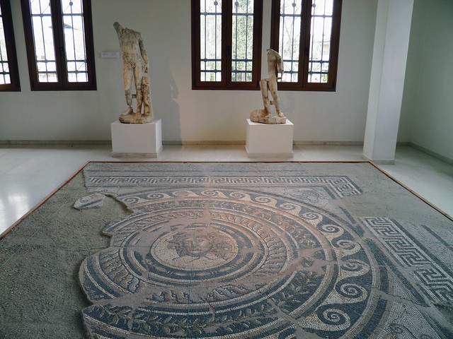 Mosaic floor from the Villa of Dionysos depicting Medusa's head in a circular frame, Archaeological Museum, Dion