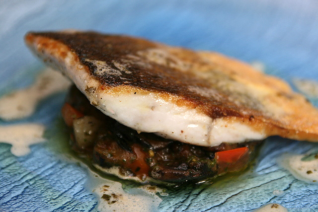 European sea bass fillet with sautéed mushrooms and potato