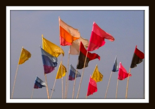 Flags on the beach @ Pete's shack in Candolim, Goa by Ginas Pics