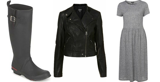 reading festival, topshop midi dress, biker jacket, wellies