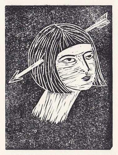 lino cut girl
