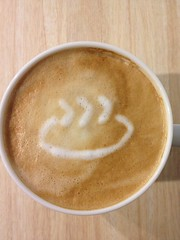 Today's latte, PySpa logo.