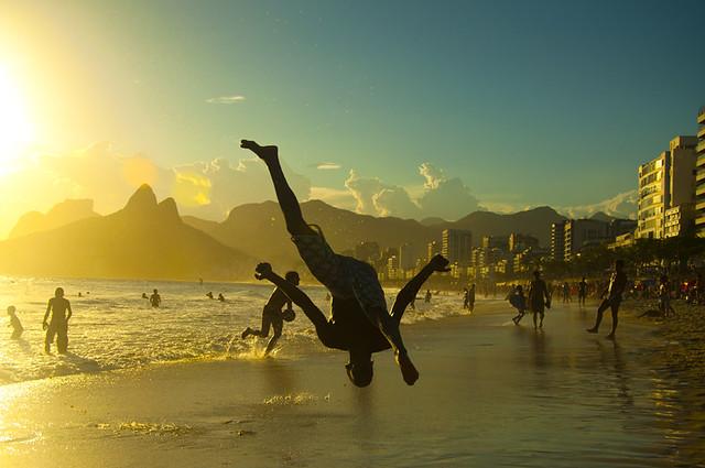 Capoeira in sunset. Arpoador, Rio de Janeiro, Brazil