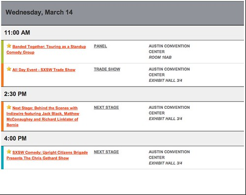 My SXSW Schedule: Wednesday, March 14th by stevegarfield