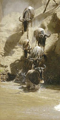 "'Crossing The Mara River' oil on board 19¼"" x 9¾"