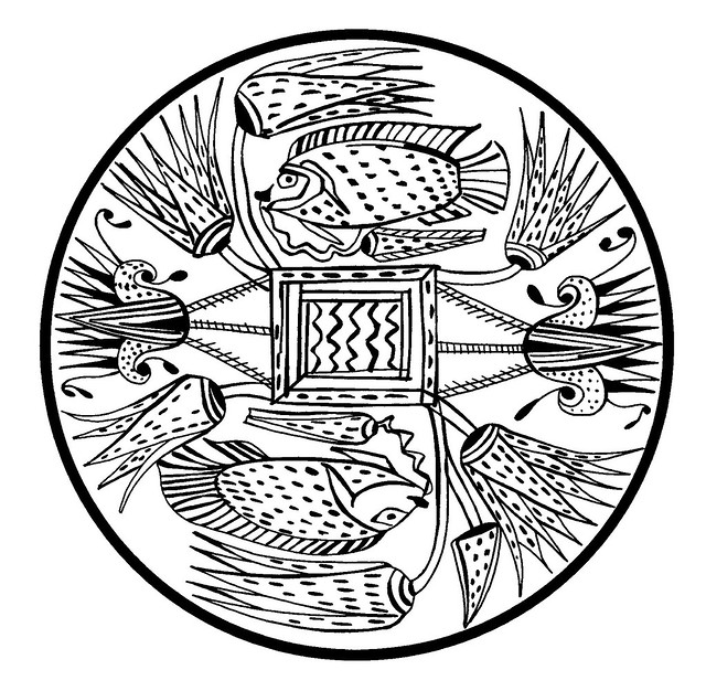 Ancient Egyptian fish & stylised floral roundel design