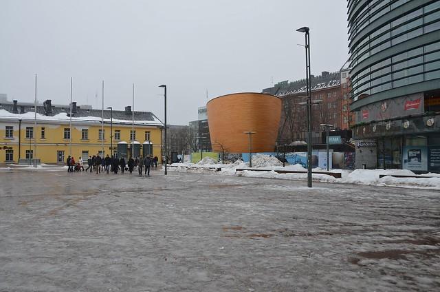 La capilla del silencio de Helsinki, desde fuera