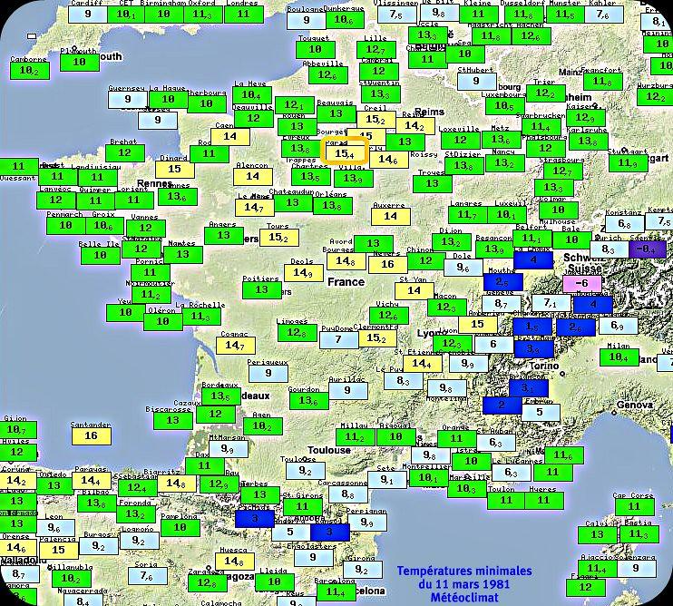 températures minimales et records de douceur du 11 mars 1981 météopassion