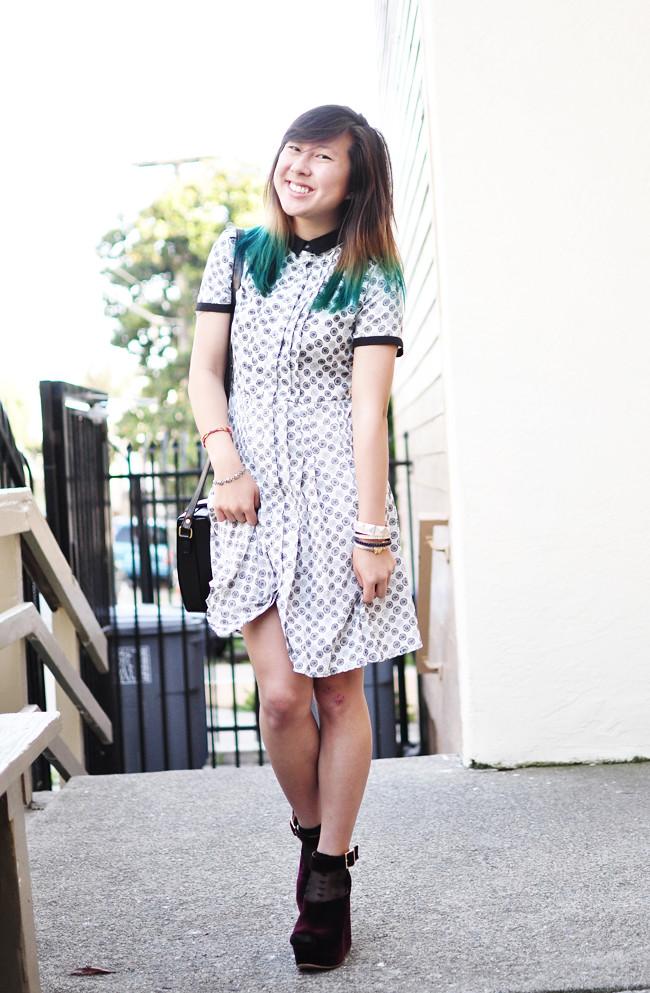 Jason Wu for Target dress, vintage purse, dip dyed hair, teal, TBA, burgundy, wedges