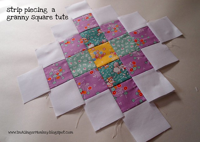 strip piecing a granny square tute