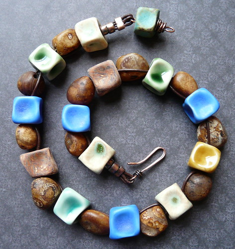Porcelain, Agate, Leather & Copper Necklace