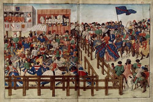 018-Le libre des tournois…1460- René d' Anjou--Français 2692, fol. 52v-53-Juramento de los participantes en el torneo