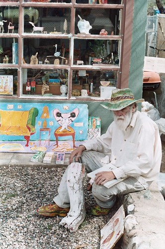 Sallie Lou outside his home studio