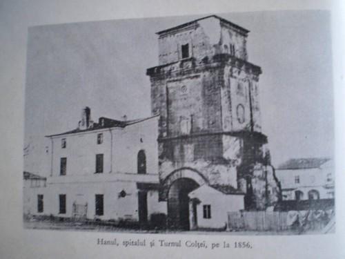 1856, Angerer, cea mai veche fotografie a Turnului si cladirea dinspre nord in care a deschis Carol Davilla o scoala cu profil medical, prima din instoria invatamantului medical din Romania