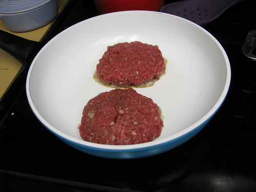 Bison patties in the pan
