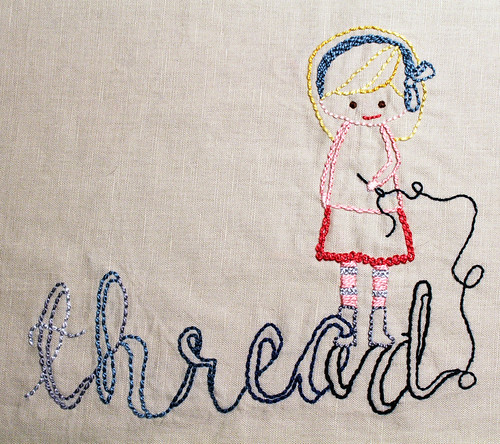 thread girl embroidery