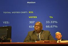 Bishop Brown Presides over the vote. A UNNS photo
