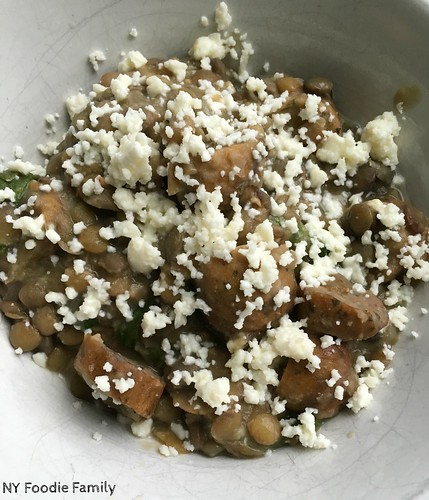Slow Cooker Lentils with Chicken Sausage, Spinach and Feta Cheese