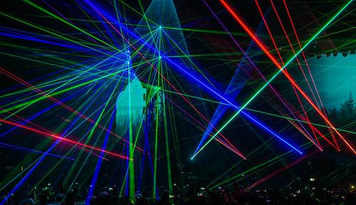 Coldplay Amsterdam ArenA mashup foto - Lasers tijdens Coldplay in de Amsterdam Arena