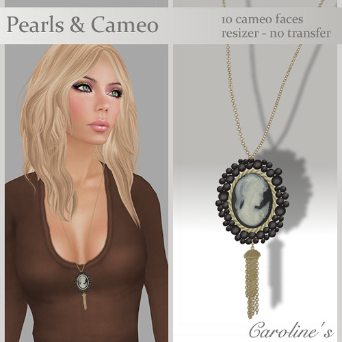 Caroline's Jewelry Pearls & Cameo Black Gold