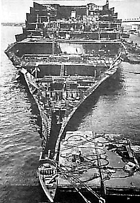 SS Normandie being scrapped