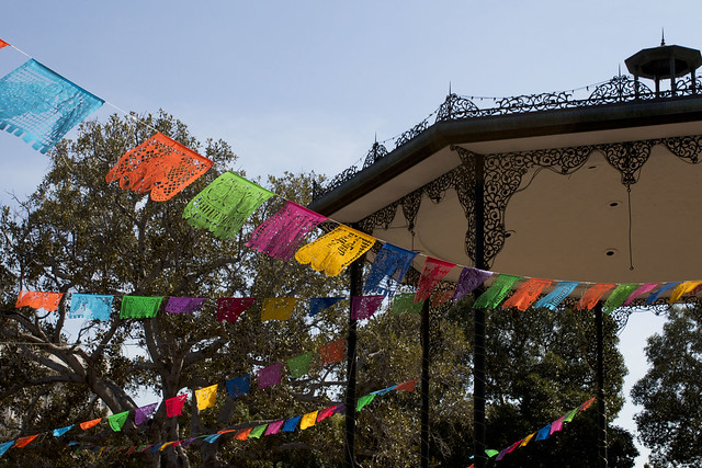 decorative flags, olvera street los angeles