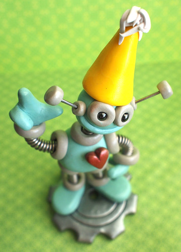1st First Birthday Robot Cake Topper Miniature Sculpture by HerArtSheLoves