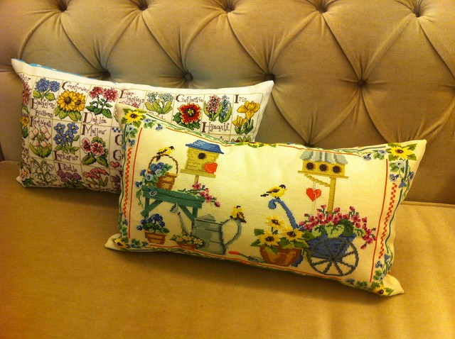 cross stitching pillows