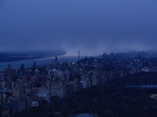 Snow storm approaching Manhattan New York over George Washington Bridge