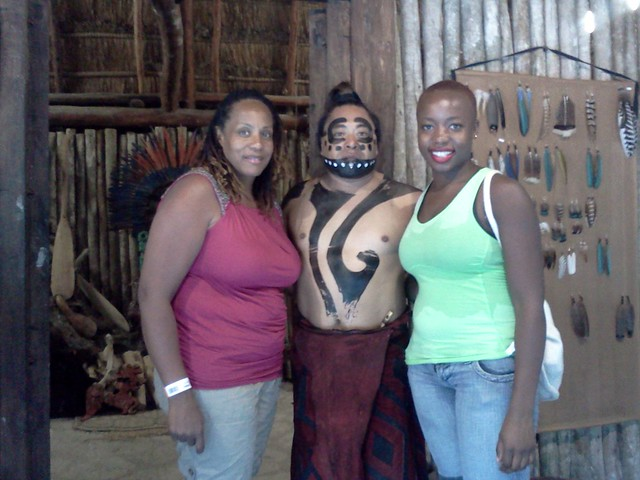 Janice & Dani pose with a Mayan