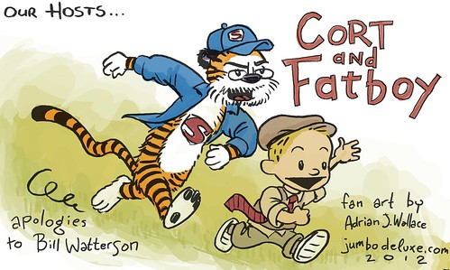 Cort and Fatboy  rendered in the style of a popular comic from the '80's