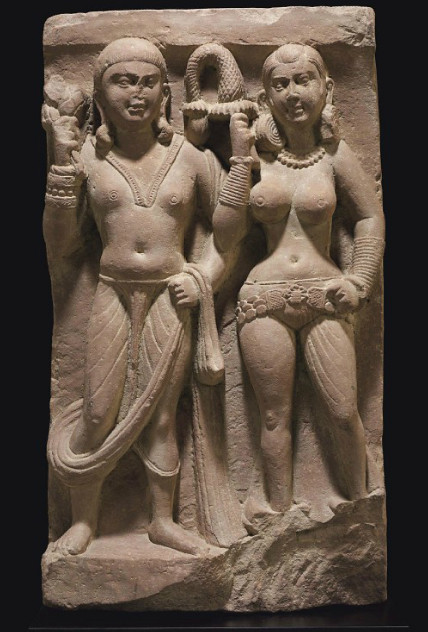 A relief with an Indian couple from Mathura