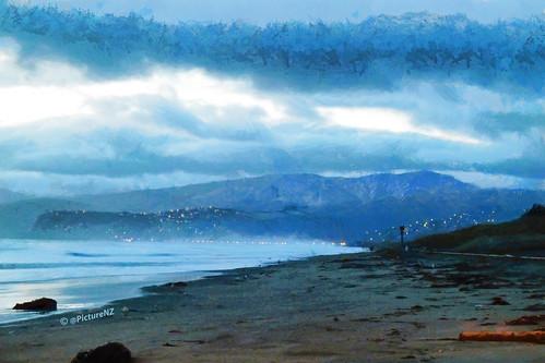 ocean blue sea newzealand christchurch beach sunrise dawn coast twilight pacific canterbury nz southisland sumner newbrighton porthills blinkagain