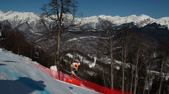 Ben Thomsen during downhill training at the men's World Cup stop in Sochi - the first test event for the 2014 Olympics.