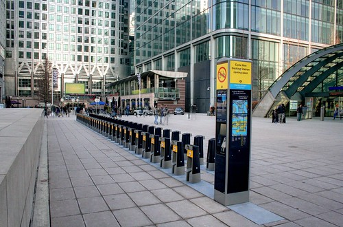 Boris Bike Stands at Canary Wharf