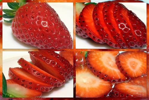 una fresa en rodajas