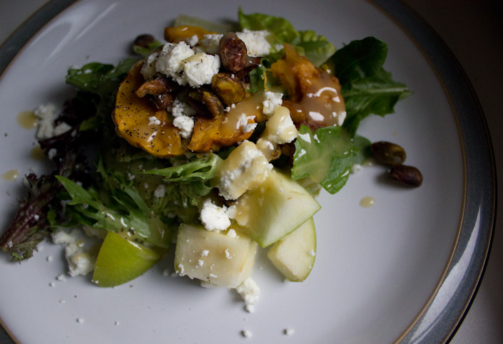 Squash, green apple, goat cheese salad.
