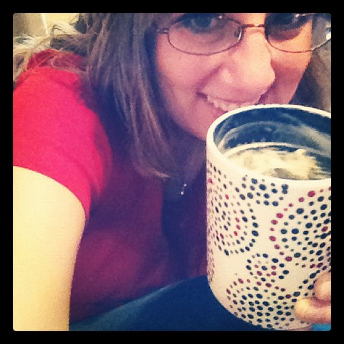 Photo A Day: Day 13: Blue. Me keeping warm with a hot cup of tea in a blue dottery cup and in my blue jeans.