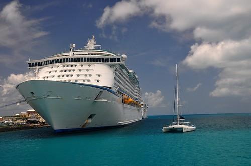 Cruise ship and Catamaran
