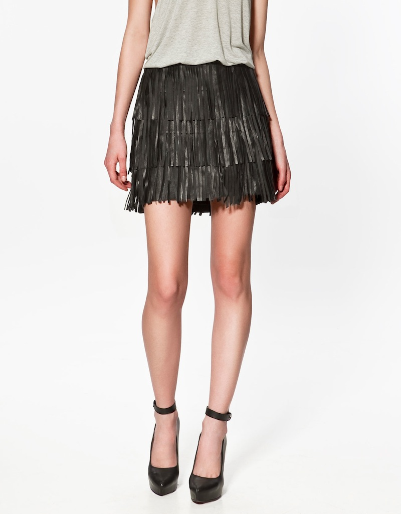 Zara leather fringe skirt 1