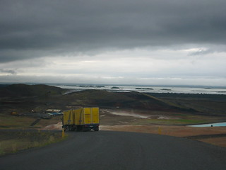 Truck descending toward Myvatn