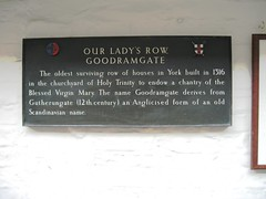 Photo of Our Lady's Row, Goodramgate bronze plaque