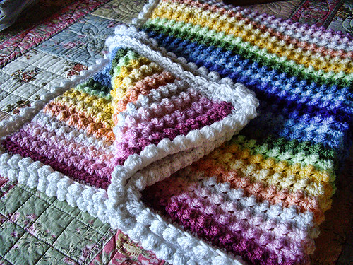 Knit Popcorn Stitch Baby Blanket Pattern : Petunia Pill: Pattern for Rainbow Blanket