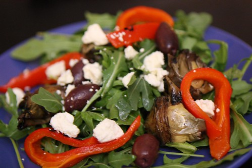 Arugula with Roasted Red Pepper, Grilled Artichoke Heart, Kalamata Olive, and Feta