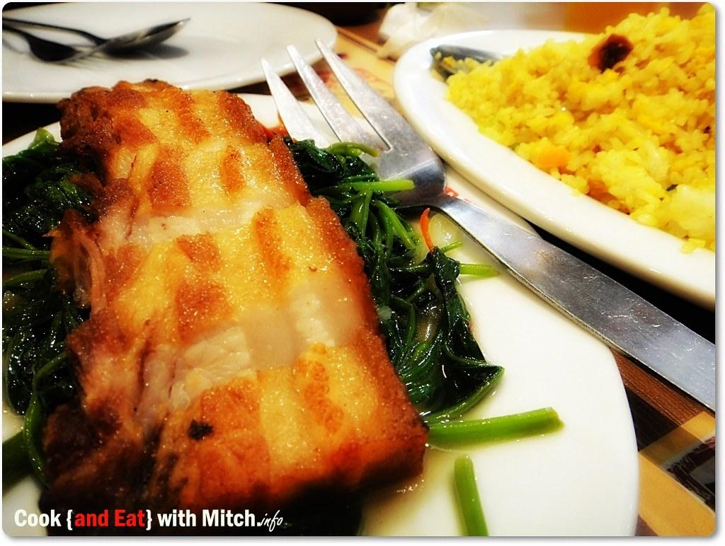Deep-fried Pork Belly with Kangkong