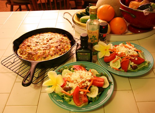 Greek Salads & Italian cheese & vegetable quiche with ham crust