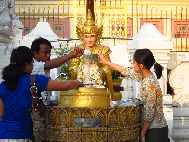 Buddhists Making Offerings at Shwedagon Paya