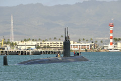 PEARL HARBOR (Feb. 22, 2012) Los Angeles-class submarine USS Columbus (SSN 762) departs Joint Base Pearl Harbor-Hickam for a Western Pacific deployment. (U.S. Navy photo by Chief Mass Communication Specialist Josh Thompson)