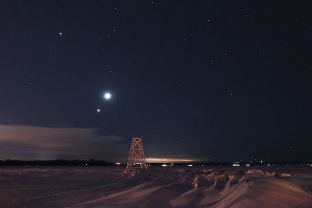 Conjunction of Jupiter, Venus and the Moon